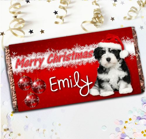 Personalised 110g Christmas Milk Chocolate Gift N54 Cute Puppy Dog